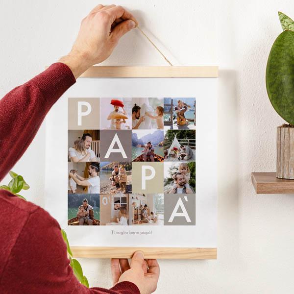 Stampa Poster Collage Papà Poster 30x30 con astine in legno ciaoalt